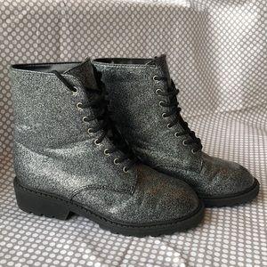Xhilaration Shoes - Xhilaration Silver Glitter Boots size 13 1/2